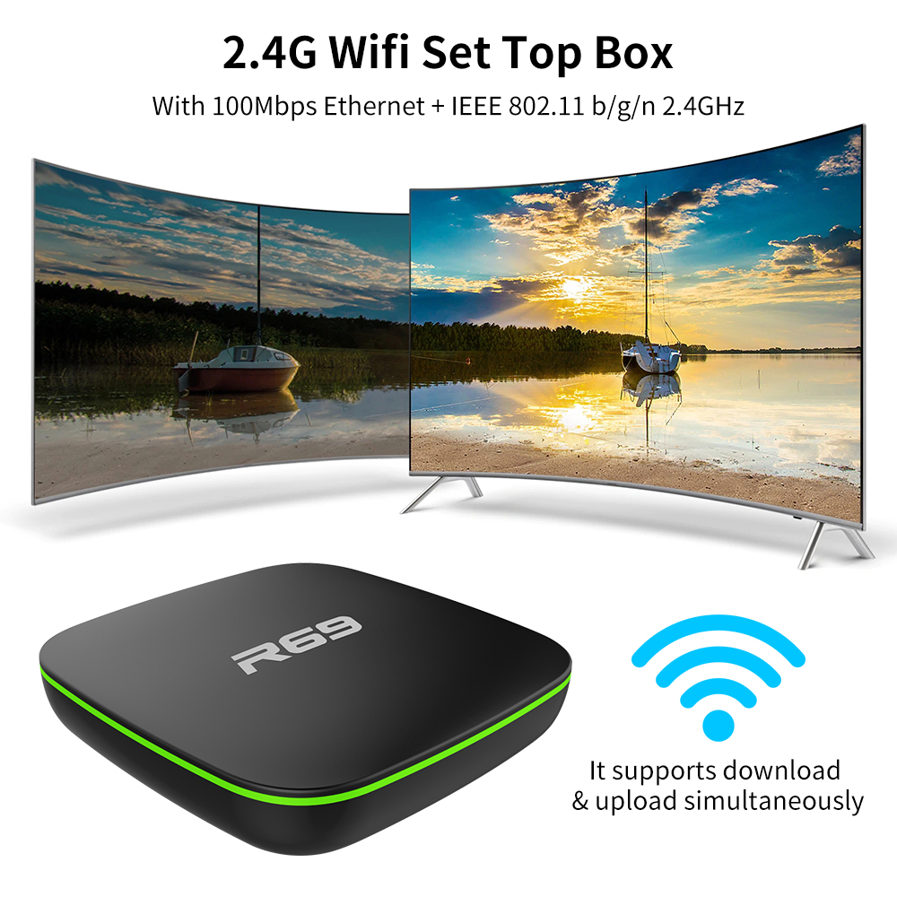 Image 2 - Mini R69 Android 7.1 Smart TV Box 1GB 8GB Allwinner H3 Quad Core 2.4G Wifi Set Top Box 1080P HD Support 3D movie Suppot IPTV Box-in Set-top Boxes from Consumer Electronics