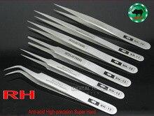 1 Set 6 stks Japan NEUSHOORN RH Pincet anti zuur Hoge precisie Super Hard Sharp Voor Reparatie Horloge of Pick Vogelnest etc Kleine items