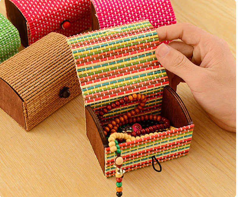 2018 Vintage Jewelry Box Ring Earrings Necklace Display Bamboo Wooden Case Jewelry Storage Box Valentine's Day Gift Organizer