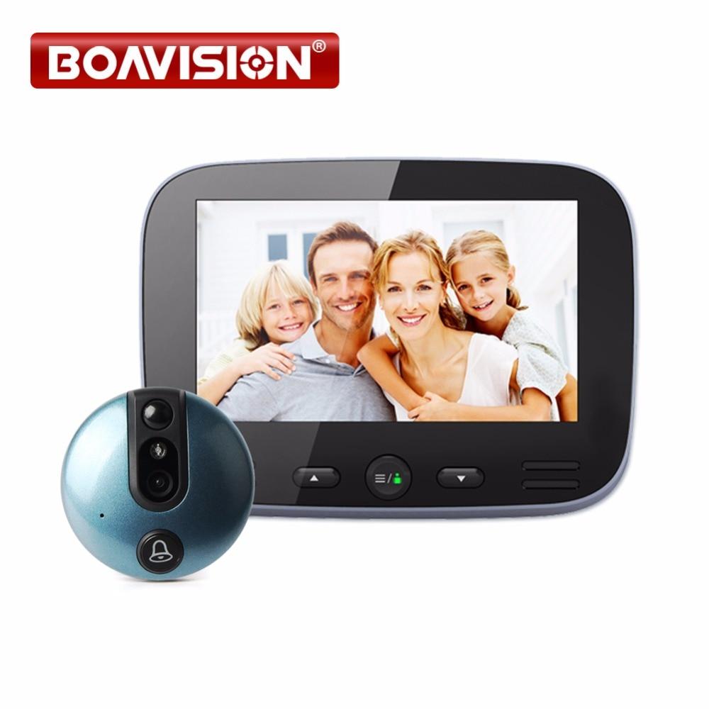 4 3 Inch Video Doorbell Zinc Alloy Video Door Phone 120 Degree 720P Peephole Viewer PIR