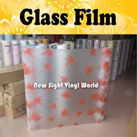 Maple leaves Glass Film Sheet PVC Self Adhesive Decorative Film For Office Bathroom Size:90CM*50M/Roll