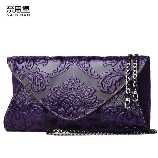2016 New genuine leather women bag designer brands quality cowhide embossing fashion women Clutch bags small shoulder bag