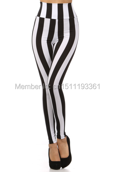 bb4856e937 US $7.99 |free shipping high waist black white striped leggings stretchy  houndstooth leggings windmill pants for lady XS/S/M/L/XL-in Leggings from  ...