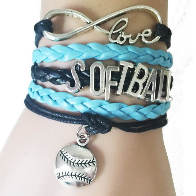 Hot Softball Bracelets Fashion Male Jewelry Bracelet Best Sports Cheer For Team