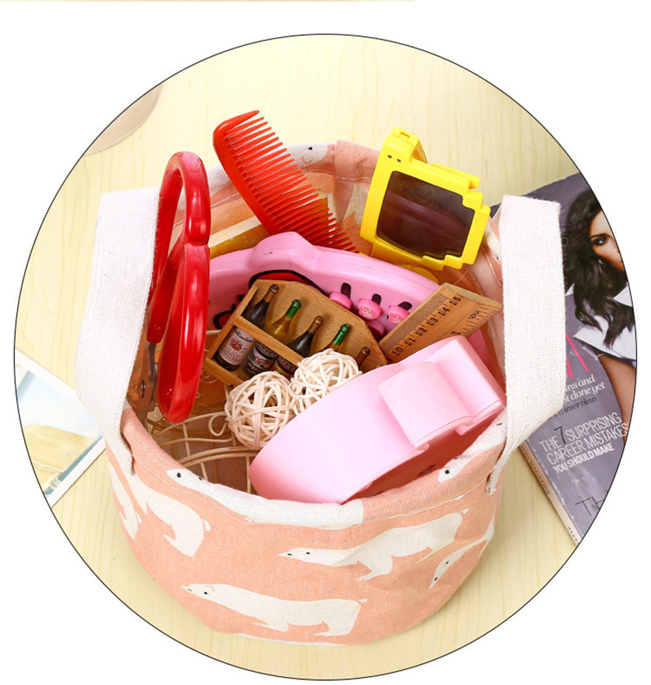 Cute Printing Cotton Linen Desktop Round Storage Organizer Sundries Box Cabinet Underwear Jewelry Cosmetic Stationery Basket (7)