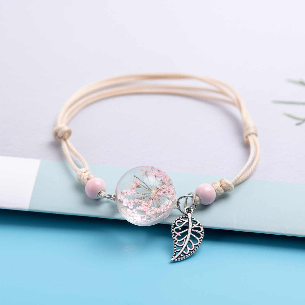 Ceramic Beads Glass Charms Bracelets Crystal Transparency Flower DIY Boho Ceramic Bracelets Party gift #DY522