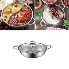 BESTONZON 1 шт. многофункциональный двойной горячий горшок кухонная посуда с антипригарным покрытием из нержавеющей стали кастрюли со стеклянной крышкой для домашнего ресторана