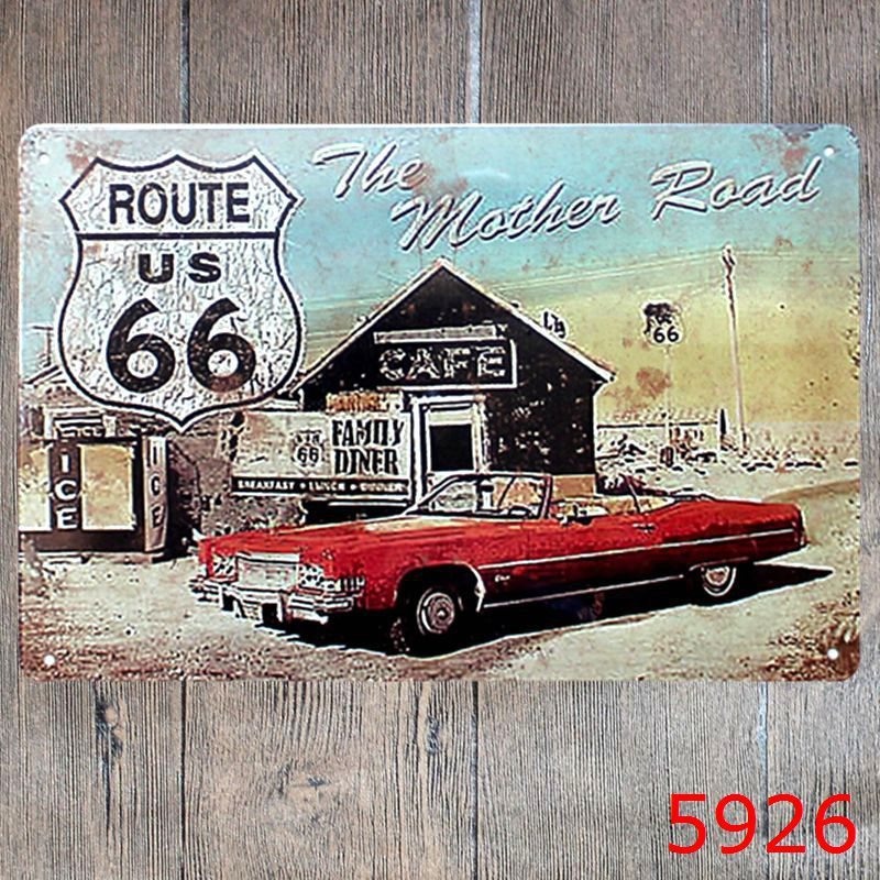 The Mother Road Route 66 Metal Tin Signs Texas Historic Gas Car Garage Home  Decor Wall Art Painting Signage YN029 In Plaques U0026 Signs From Home U0026 Garden  On ...