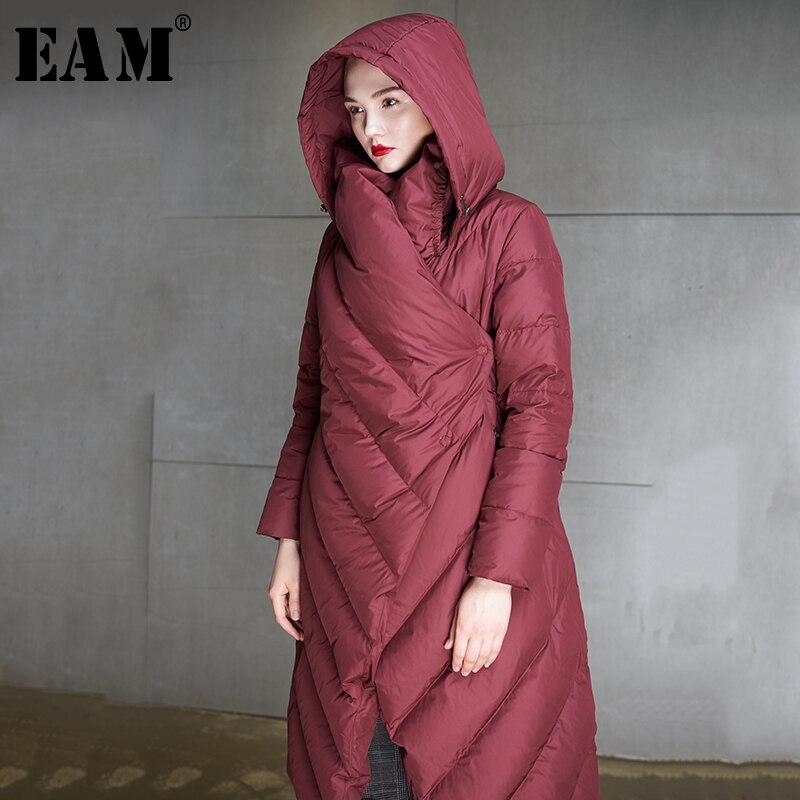 [EAM] Высокое качество 2018 зима сплошной Цвет с капюшоном водолазка утолщаются ветрозащитный Утепленная одежда новые модные Для женщин вниз ...
