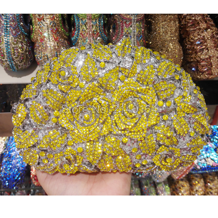 Wedding Bridal Handbag Clutches Bag Flower Hollow Out Champagne Crystal Rhinestone yellow Rose Evening Clutch Bag(88303-K) rhinestone flower embroidered evening bag