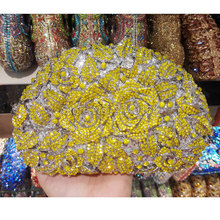 Hochzeit Braut Handtasche Kupplungen Bag Blume Aushöhlen Champagner Kristall Strass gelbe Rose Abend-handtasche (88303-K)