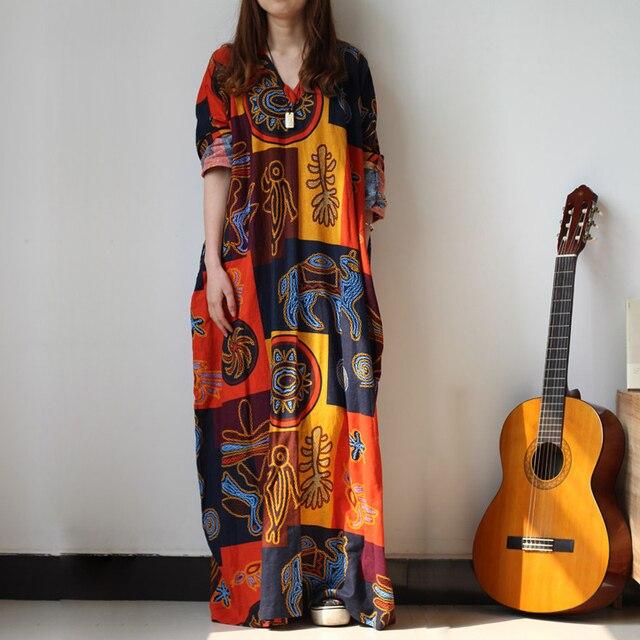 Bayan Elbise 2016 Lente Herfst Plus Size Vrouwen Jurk Katoen Linnen Lantaarn Strand Jurk Toevallige Maxi Jurk Abiti Eleganti Lunghi