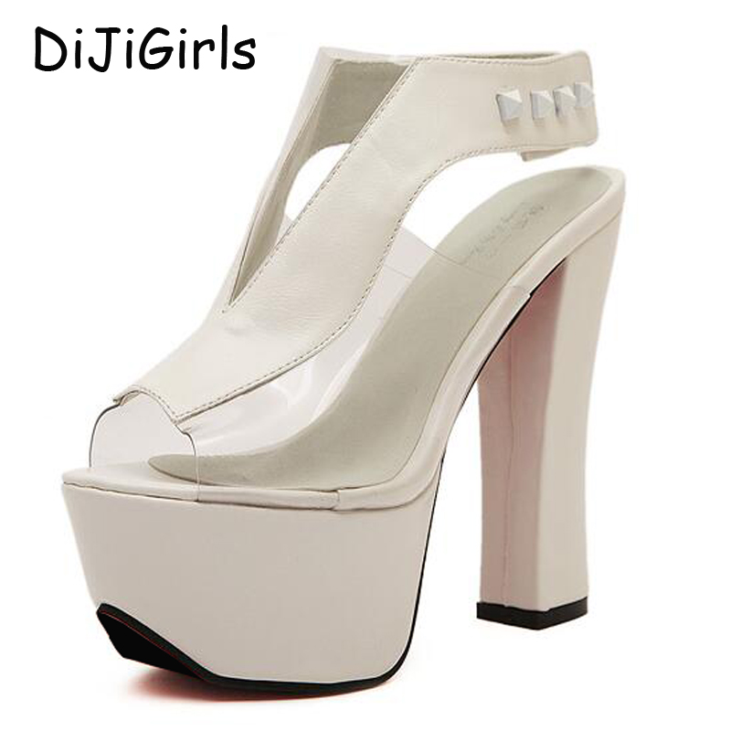 platform pumps sexy high heels ankle strap chunky sandals women shoes ladies 2017 shoes woman party female jelly sandals D32 big size 32 43 fashion party shoes woman sexy high heels platform summer pumps ankle strap sandals women shoes