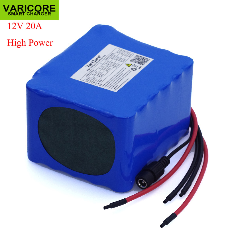 VariCore 12V 11.1v 20Ah high power 50A 100A discharge battery pack BMS protection 4 line output 12.6V 500W 800W 18650 batteries-in Battery Packs from Consumer Electronics