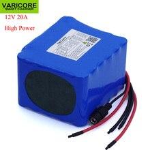 Varicore 12v 11.1v 20Ahハイパワー50A 100A放電バッテリーパックbms保護4ライン出力12.6v 500ワット800ワット18650電池