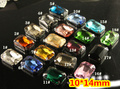 21Colors 10*14mm 180Pcs/lot Rectangle Octagon Crystal Sew on Fancy Stone with 4 Holes Dull Silver K Claw Setting