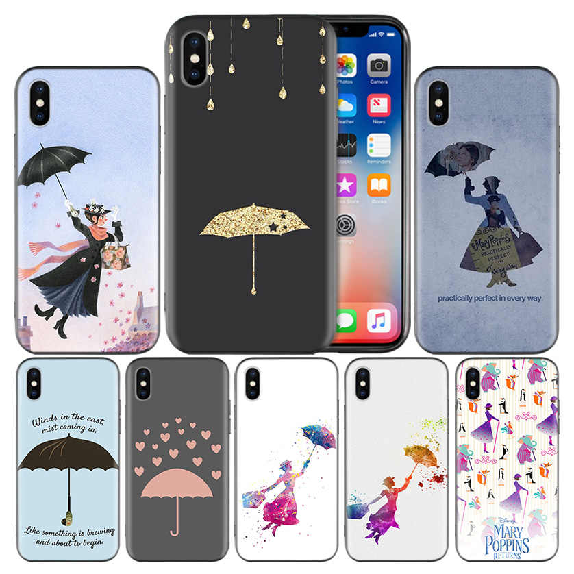Mary Poppins Frosted Fundas Back Case For Apple iPhone 7 8 6 6S Plus X XS MAX XR 5 5S 5C SE 10 Ten Protective Cover Coque