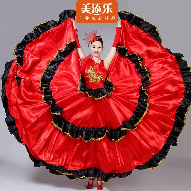080f9abf5 Vestido de Bullfight español baile Flamenco actuación traje rojo nueva  apertura danza completa ...