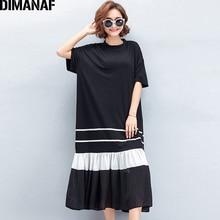 Dimanaf женское платье плюс Размеры Лето 2018 с Трубы плиссированные черный женская элегантная Vestidos свободные по Размеры D длинное платье