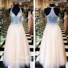 Actual Photos Long Prom Dress V-neck Sleeveless Beaded See Through Top Tulle A-line Prom Dresses 2017