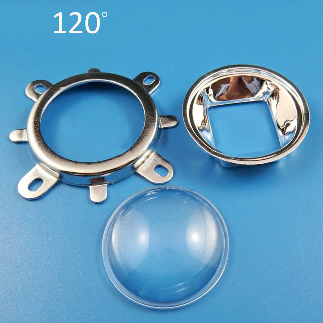 3 pièces 44mm lentille de LED en verre optique 60 degrés + 50mm réflecteur collimateur + support fixe pour 20W 30W 50W 100W COB puce haute puissance