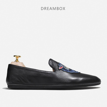 British Leather Breathable Loafers Trend embroidery Casual Shoes Повседневная мужская обувь