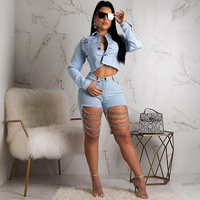 TWO PIECE SET Shorts Metal Chain Denim Jacket Suit Women Long Sleeve Crop Top Punk Ripped Jeans Outfits Ensemble Plus Size 2 Pcs