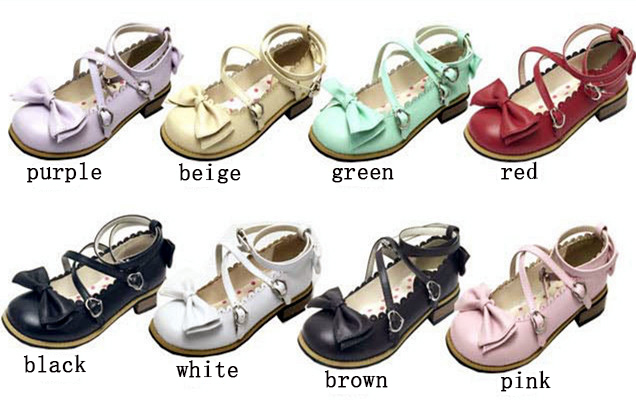Girl Women Low Heels Bowtie Pumps Low Square Heels Buckle Straps PU Leather Cosplay Maid Shoes Kawaii Princess Lolita Shoes