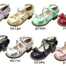 5daa5c98509 Girl Women Low Heels Bowtie Pumps Low Square Heels Buckle Straps PU Leather  Cosplay Maid Shoes