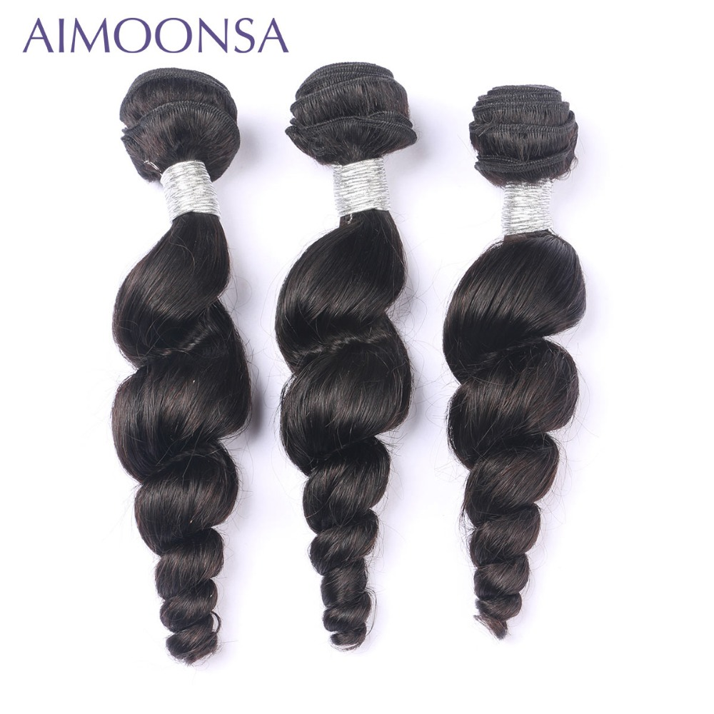 Brazilian Human Hair Weave Bundles Loose Wave Hair Bundles Extensions Double Weft Natural Color Free Shipping AIMOONSA