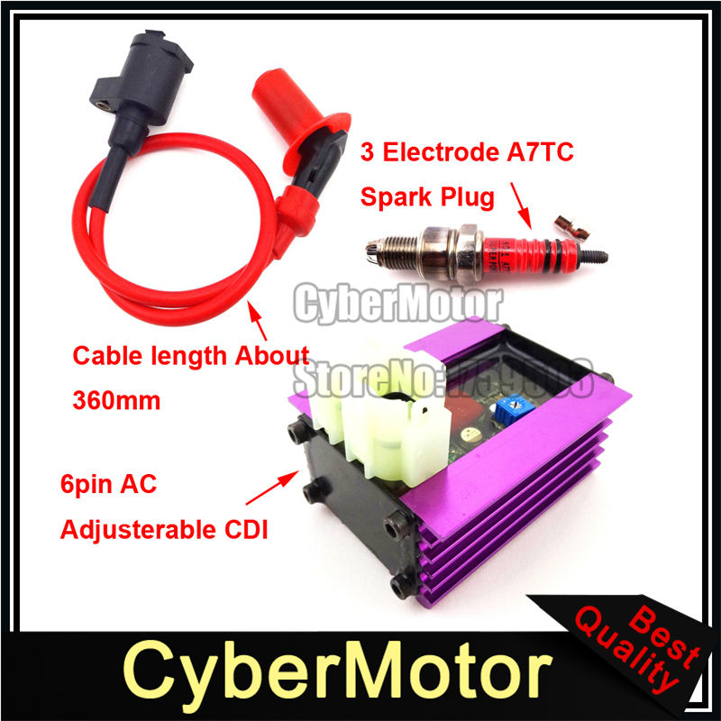 цена на 6 Pin Racing Adjuster AC CDI + Ignition Coil + 3 Electrode A7TC Spark Plug For 50cc 125cc 150cc ATV Quad GY6 Scooter Moped