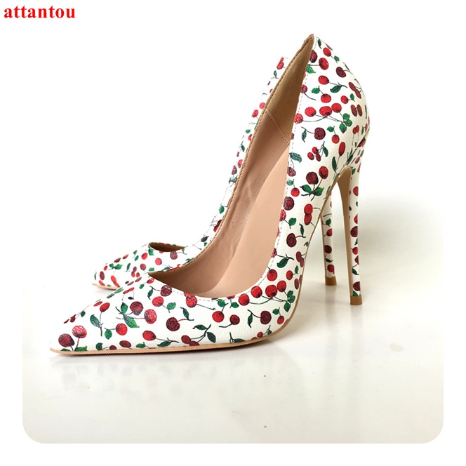 Sexy pumps red cherry printed women high heels plus Size 43 44 slip-on pointed toe female dress shoes stiletto single shoes все цены