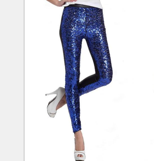Women Elastic Shining Glitter Leggings