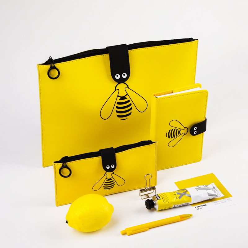 Kawaii Bumblebee A4 File Bag Lovely File Folder New Handbags Zipper Storage Bag Cute PU Pencil Case & Notebook Stationery Set
