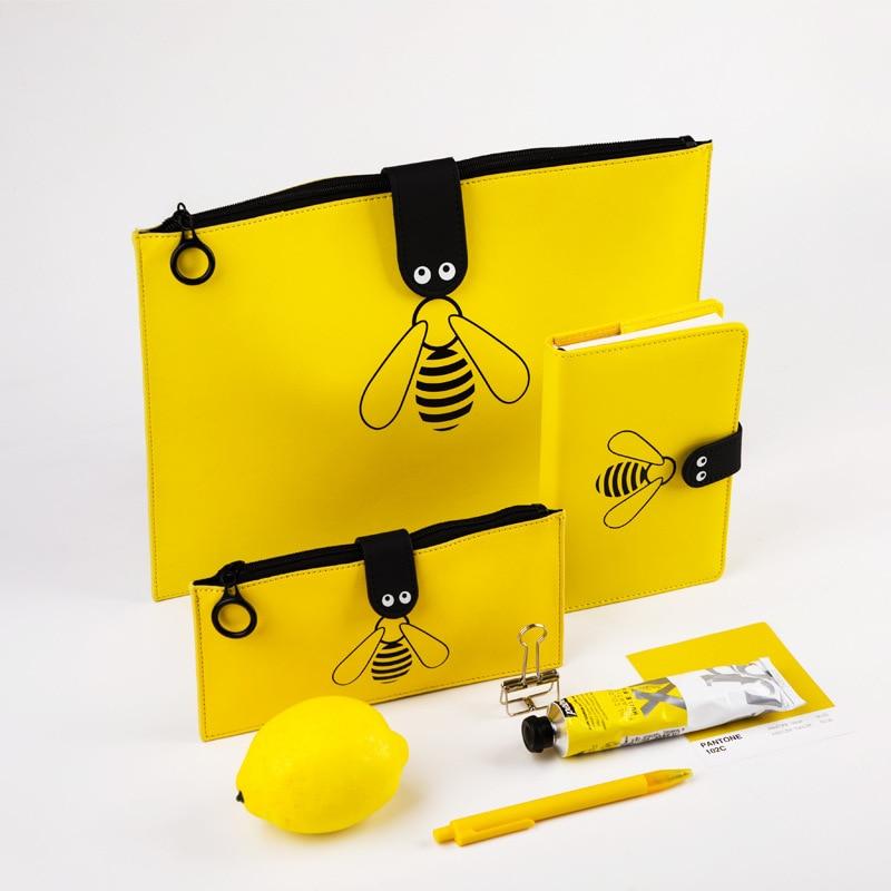 Kawaii Bumblebee A4 File Bag Lovely File Folder New Handbags Zipper Storage Bag Cute PU Pencil Case & Notebook Stationery Set