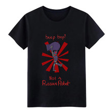 beep bop not a russian robot t shirt personalized 100% cotton Round Collar Basic Solid Fit New Style Summer Style Natural shirt(China)