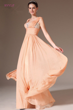 Peach Evening Dress A-line Cap Sleeves Floor Length Chiffon Plus Size