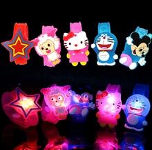 Flash LED lighting children kids bracelet wrist band birthday gift party decoration Cartoon flash luminous watch free ship