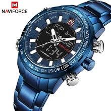 NAVIFORCE часы для мужчин черные прозрачные стразы полный сталь кварцевые цифровые водостойкие Best часы по дропшиппингу Relogio Masculino синий