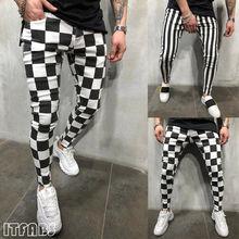 Hirigin новые мужские летние модные тонкие удобные полосатые клетчатые черные белые повседневные узкие брюки мужская одежда