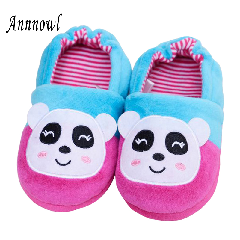 Annnowl Toddler Winter Shoes Cartoon Warm Home Slippers