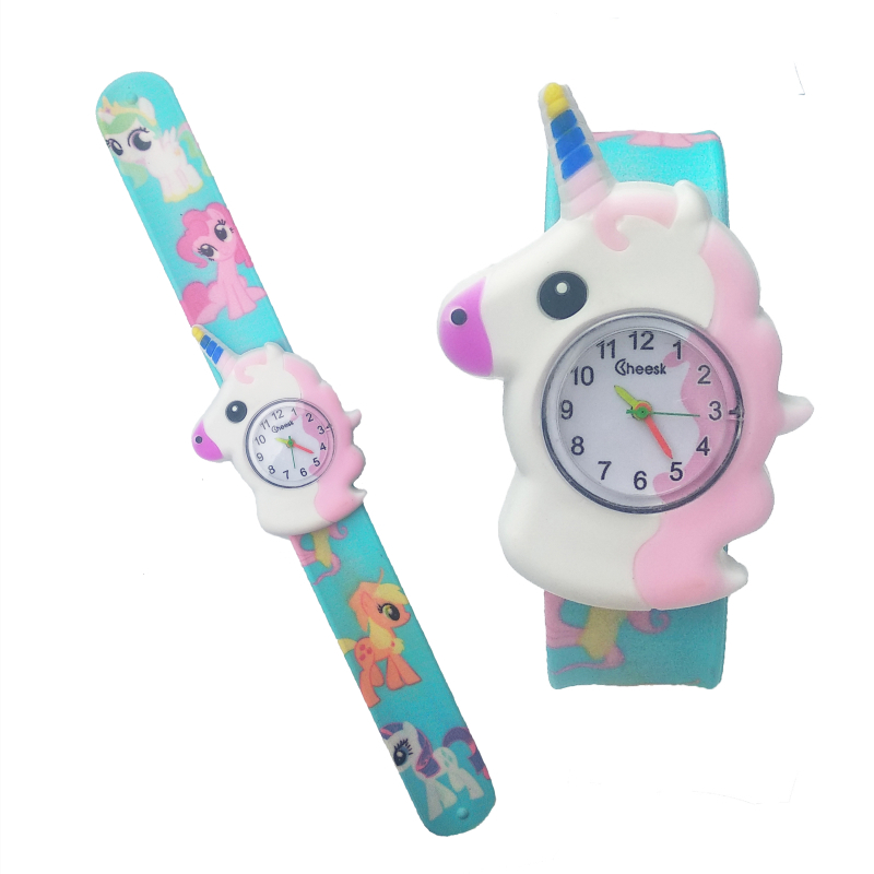 New Unicorn Watch Children Cartoon Pony Watch Kids Pat Watchband Child Quartz Watches For 2-10 Year Old Girl Boy Baby Gift Clock