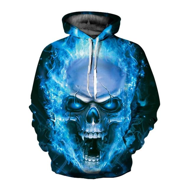 0d962594b89f New Stylish Men Women 3d Hoodies Print Big Blue Fire Skulls Hooded Hoodies  3d Sweatshirts Hoody Tops Hoodie