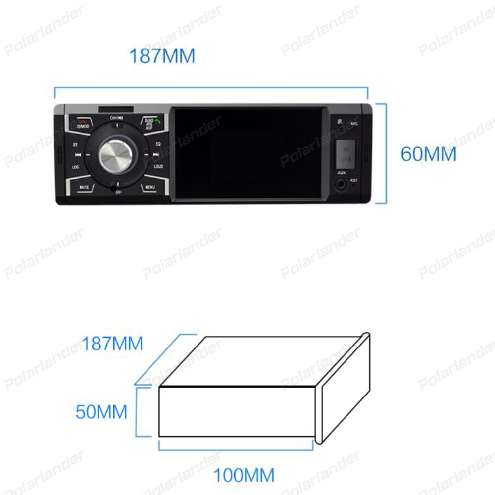 Multi function Car MP5 player 4 inch 4 45W FM USB Support Micphone TF Card Bluetooth