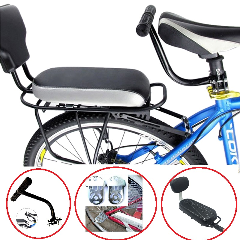 Kids Safety Cycling Seat Set Bike Back Seat Cushion Armrest Rear Feet Pedals Footrest+ Bicycle Back Seat + Chair Armrest wheel up bicycle rear seat trunk bag full waterproof big capacity 27l mtb road bike rear bag tail seat panniers cycling touring