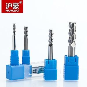 Image 2 - HUHAO Fresa de carburo sólido de 3 flautas, fresa CNC de aluminio HRC45, brocas de enrutador de acero de tungsteno, 1 unidad