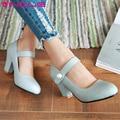 Vinlle 2017 mujer bombas zapatos de boda azul blanca gruesa de tacón alto redondo Otoño del Resorte del dedo del pie Zapatos de Las Mujeres de LA PU de Citas Zapatos Grandes del Tamaño 34-43