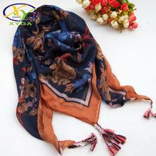 1PC Women Cotton Square Scarf Tassel Autumn Ladies Thin Head Kerchief Ethnic Shawls Soft Spring Musilim Turban