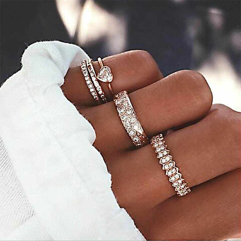 Fashion Crystal Midi Rings for Women Bohemian Moon Heart Charms Gold Rings Wedding Party Punk 2019 Jewelry Gifts
