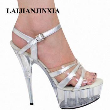 LAIJIANJINXIA 15CM Waterproof Platform Nightclub Sexy Slippers Shoes Women Dancing Shoes Party Dance Sexy High Heels Modal Shoes